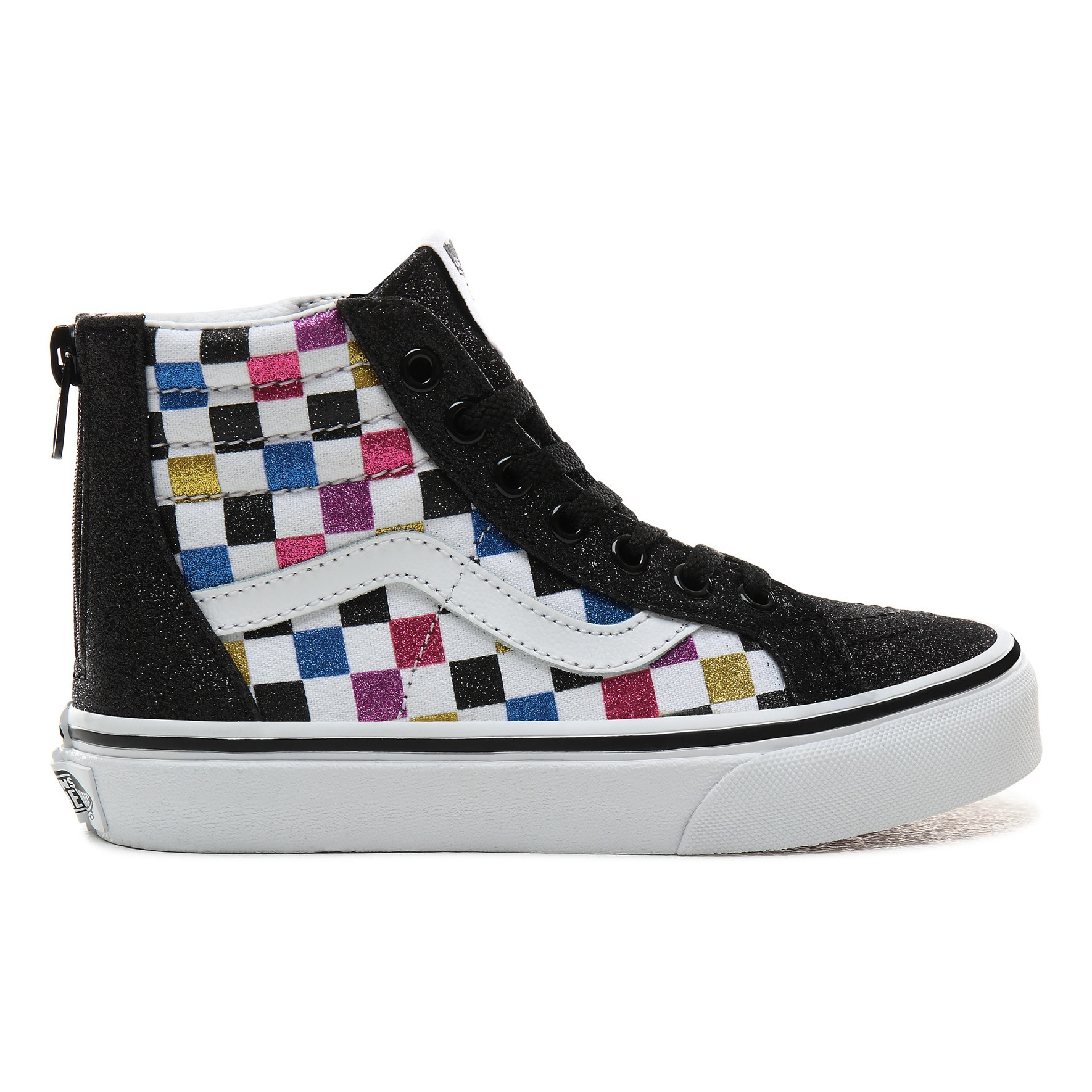 Newborn Shoes Vans Sk8 Hi Glitter And Suede Zipper Hi Top Trainers Black Vans Shoes
