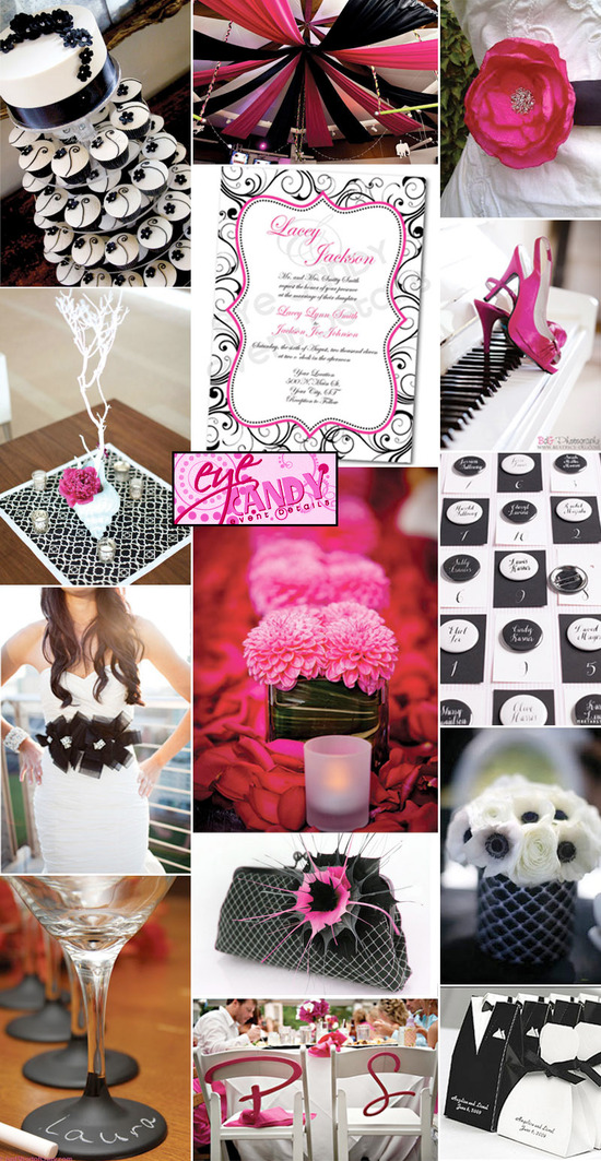 Black and White Wedding Inspiration with Hot Pink - pink black and white weddings