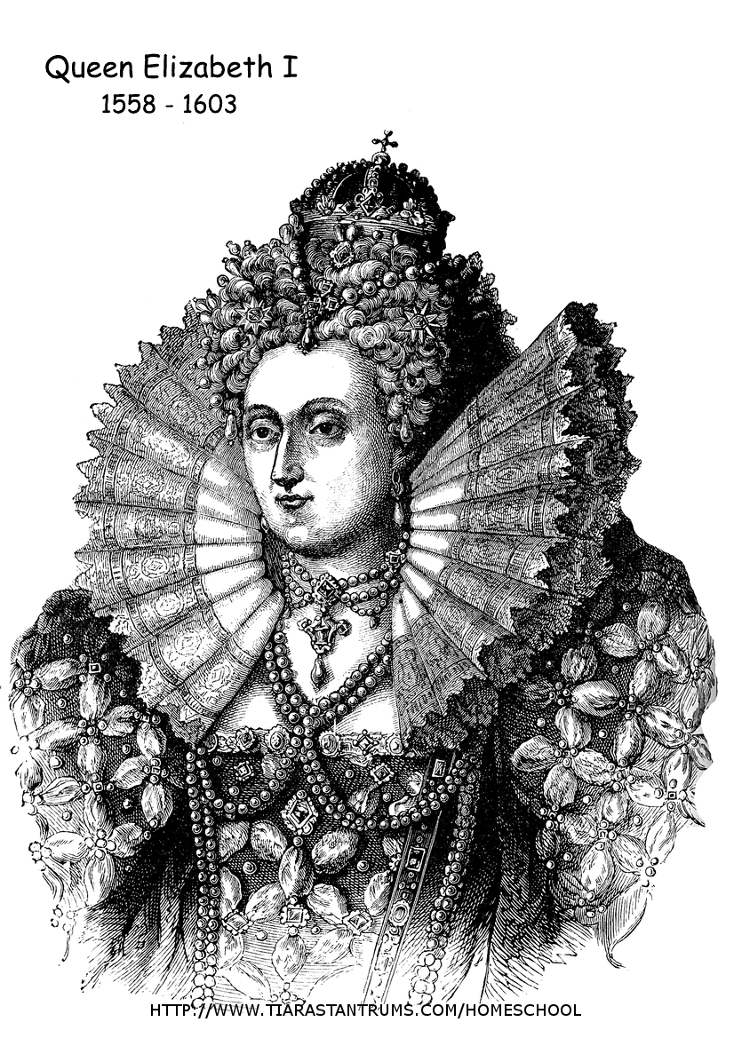 56+ [ Tudor Kings And Queens Colouring Pages ] Elizabeth I Colouring Page, Fit For A King This ...