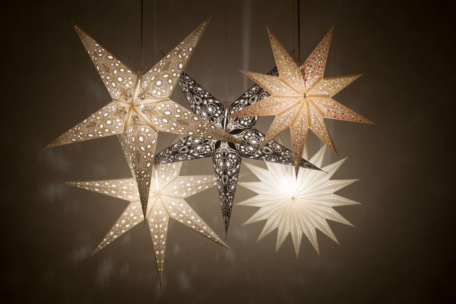 Christmas Star Lights Deluxe Paper Star Light Shades Hanging Ceiling Lampshades
