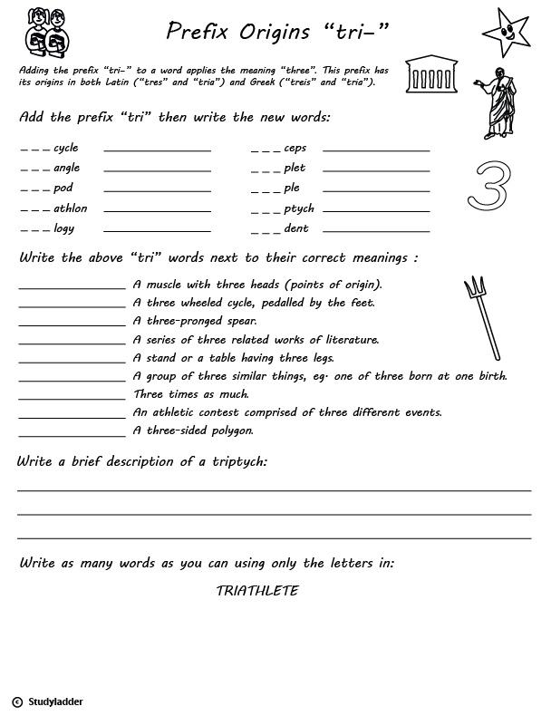 Prefix \u0027tri\u0027 (three, triple), English skills online, interactive - tri words