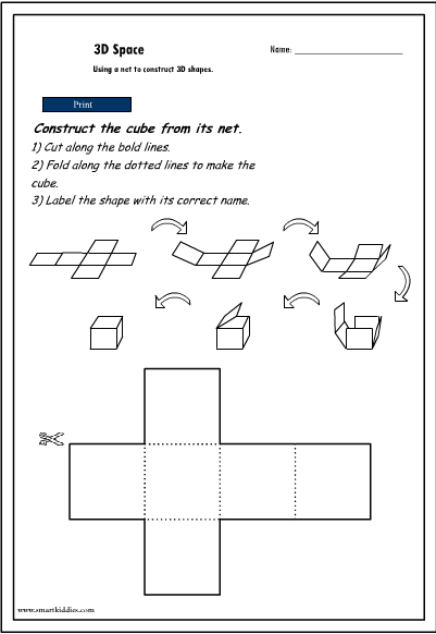 Constructing 3D Objects from their nets - cube, Mathematics skills