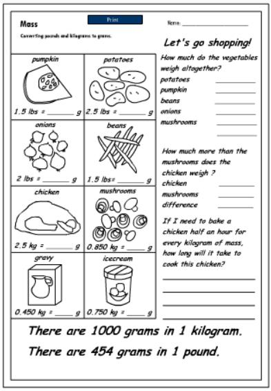 Converting pounds to grams, Mathematics skills online, interactive - gram conversion chart