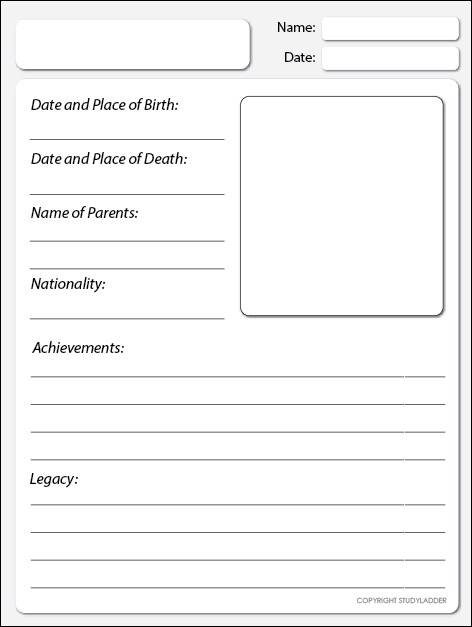Biography Research Template - Studyladder Interactive Learning Games
