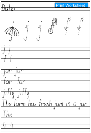 Letters j and f -Handwriting Practice Sheet, English skills online - letters online