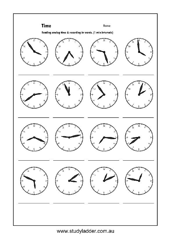 Reading analog to one minute intervals, Mathematics skills online