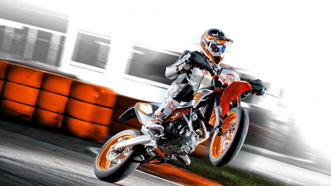 3d Wallpaper Motorcycle Wheelies Insane Wheelies Ktm 690 Smc R On A Racing Track