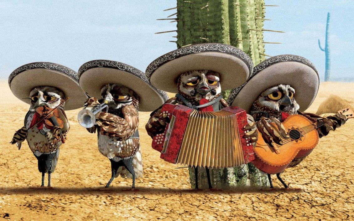 Cute Trumpet Wallpapers Rango Movie Four Owls In A Band In The Desert
