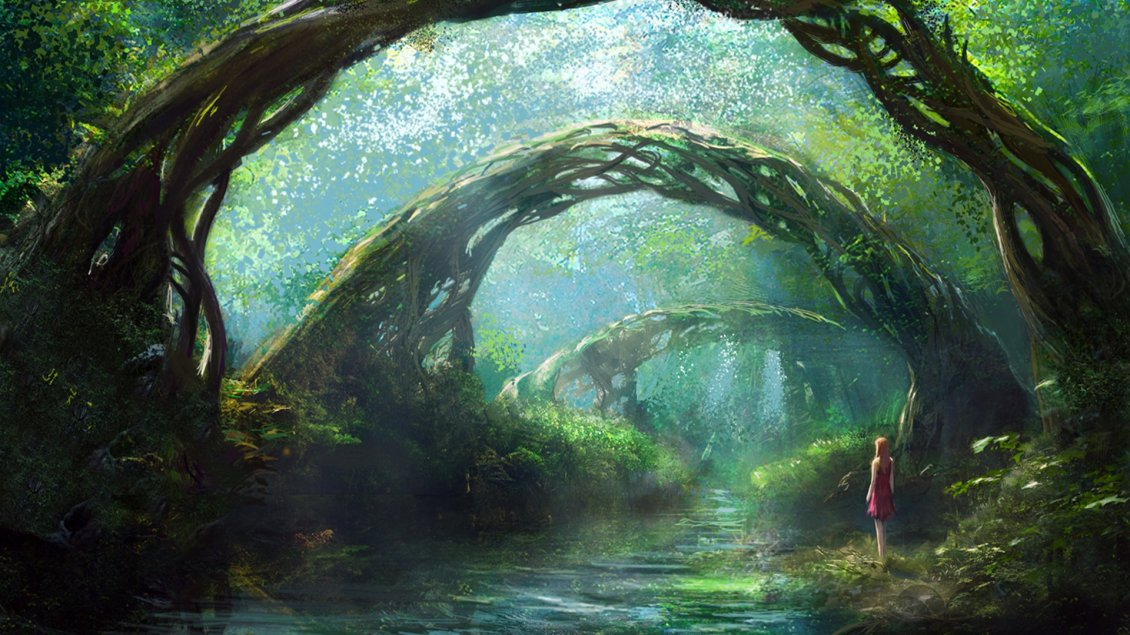 Nature Hd Wallpaper Widescreen 3d A Girl In Fantasy Forest Hd Wallpaper