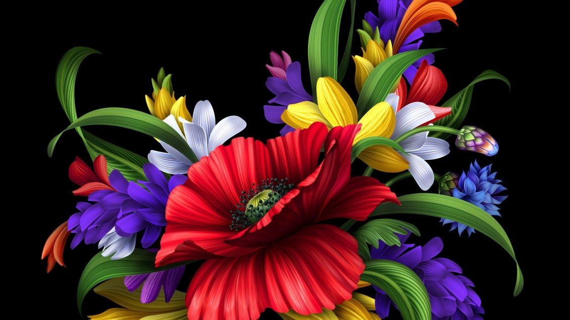 Fall Coffee Wallpaper Samsung 4 Hd Colorful Flowers Bouquet On The Black Background