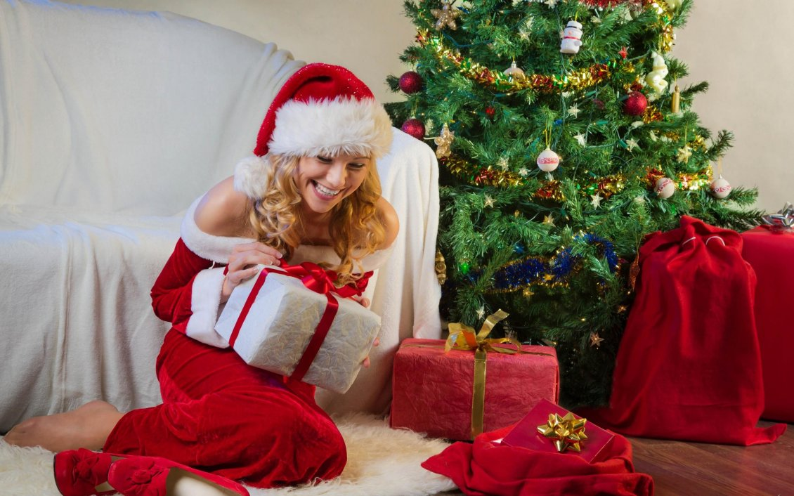 Download Happy New Year D Happy Girl Open The Christmas Gifts From Santa Claus