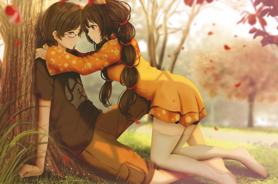 Chinese Cute Girl Hd Wallpaper Anime Romance In The Park Autumn Season