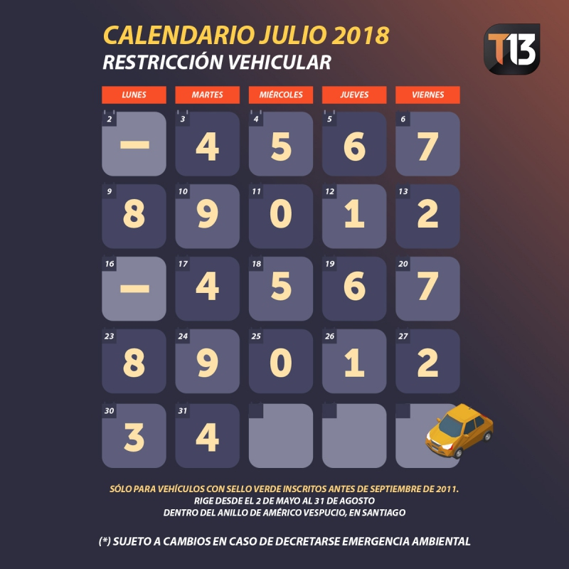 Restricción vehicular 2018 el calendario de dígitos de julio Tele 13