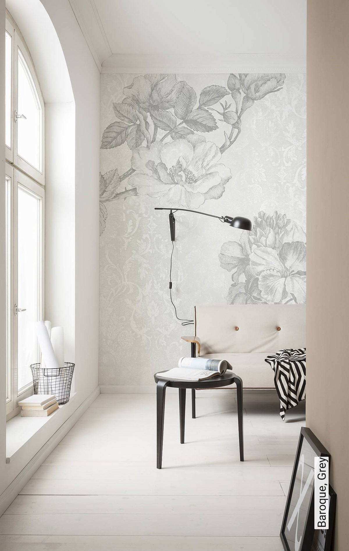 Wand Tapete Blumen Baroque Grey