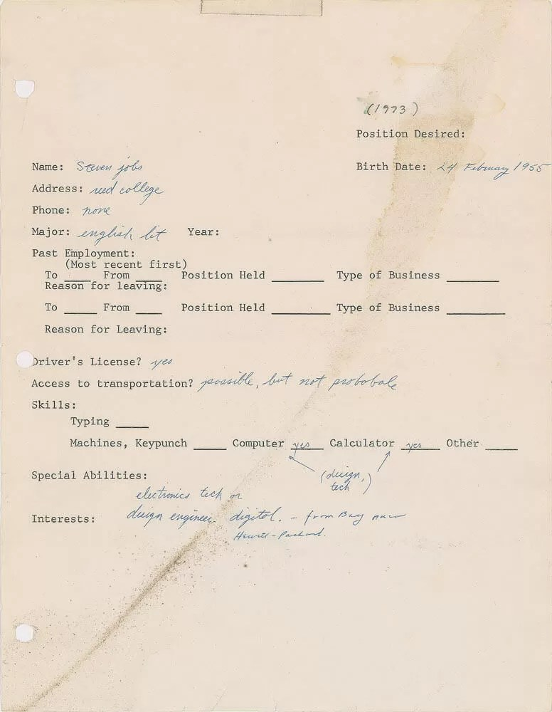 A 1973 job application form from Steve Jobs set to make $50,000 at