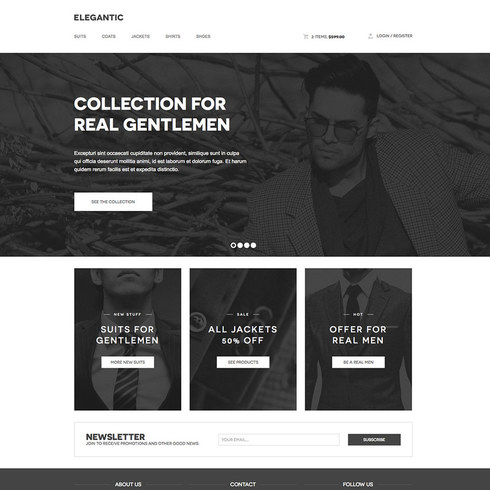 Elegantic Free Responsive Retailer Website Template