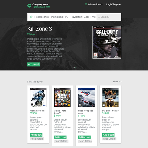 Ecommerce Video Games Responsive Website Template - video game template