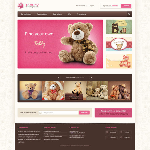 Bambino Shop Free Responsive Website Template