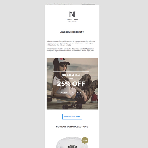 Trendy T-Shirts Free Responsive Email Newsletter Template