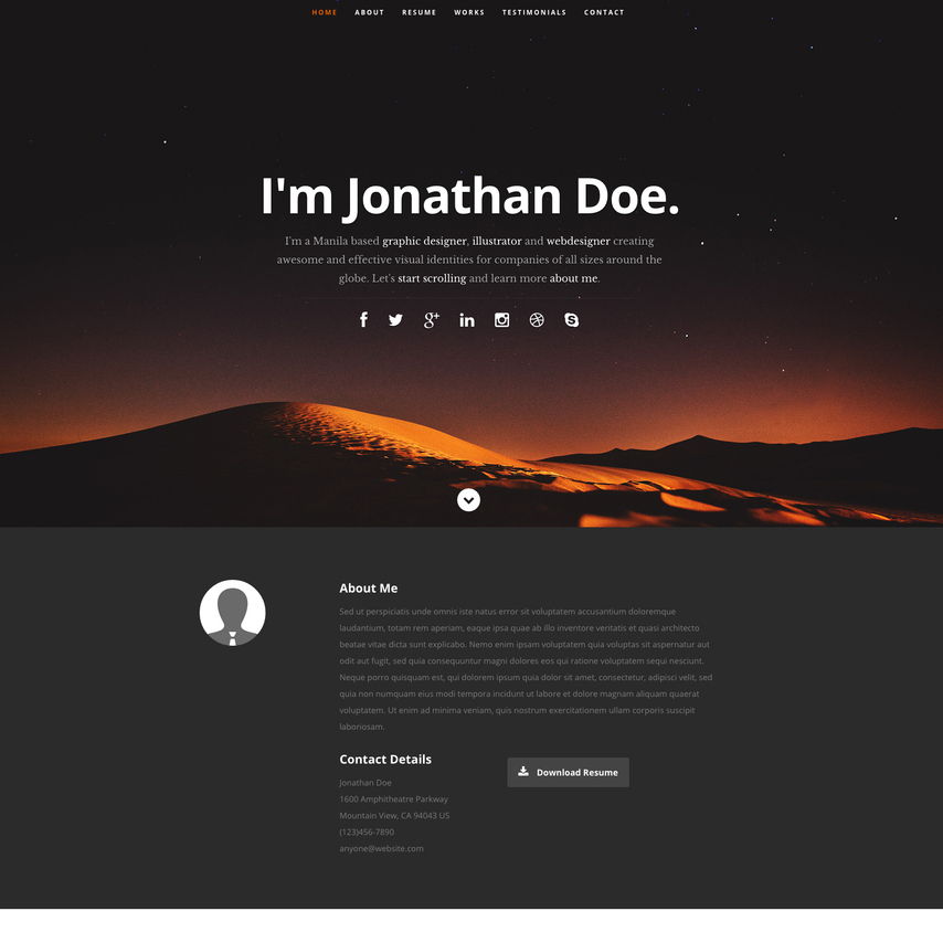 template for resume online html