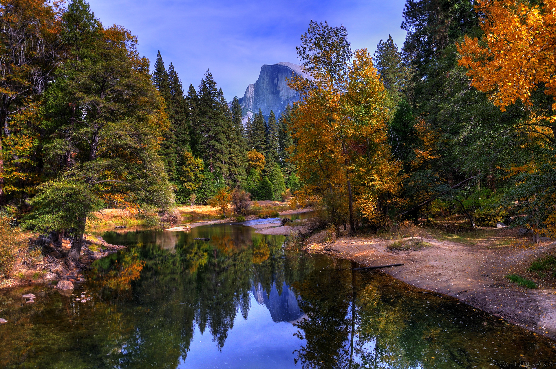 Fall Trees Background Wallpaper Half Dome Mountain In Yosemite National Park Thousand