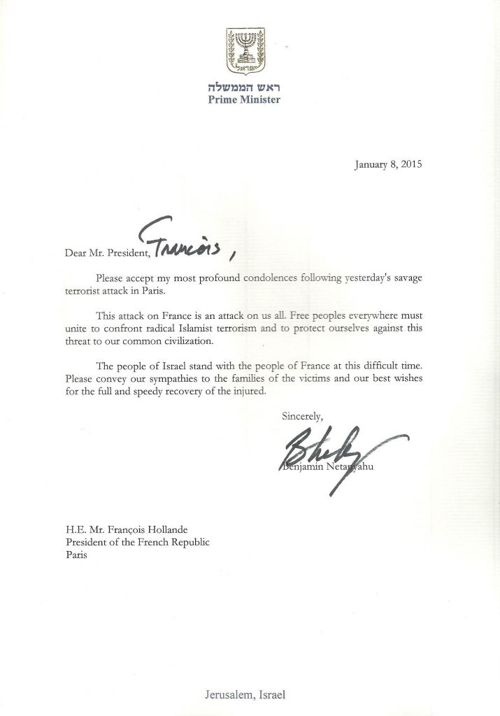 Paris attack is attack on us all, Netanyahu says in condolence note