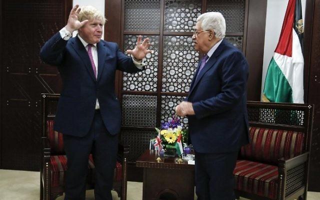 UK\u0027s Johnson, in Ramallah, urges 2-state solution, says Trump brings