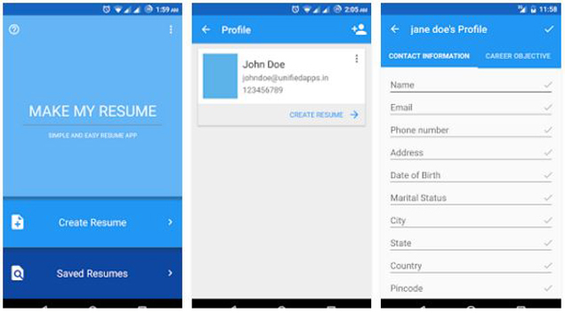 Comparison 5 resume builder apps for Android Gadgets Now - The Resume Builder