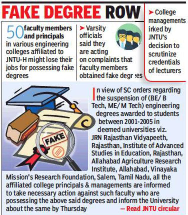 Fake degrees may cost 50 JNTU teachers their jobs Hyderabad News