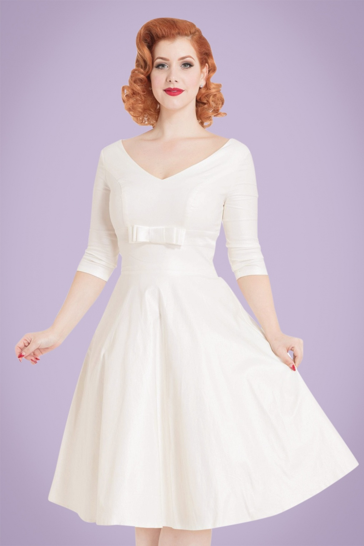 50s floral tea length dress vintage wedding 50s style wedding dresses A 50 s Floral Style Wedding Dress for a Retro Inspired Memorial Hall Wedding