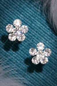 50s Clear Stone Flower Earrings in Silver