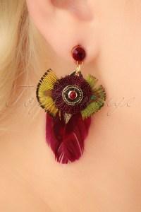 70s Fearne Red Feather Earrings in Gold