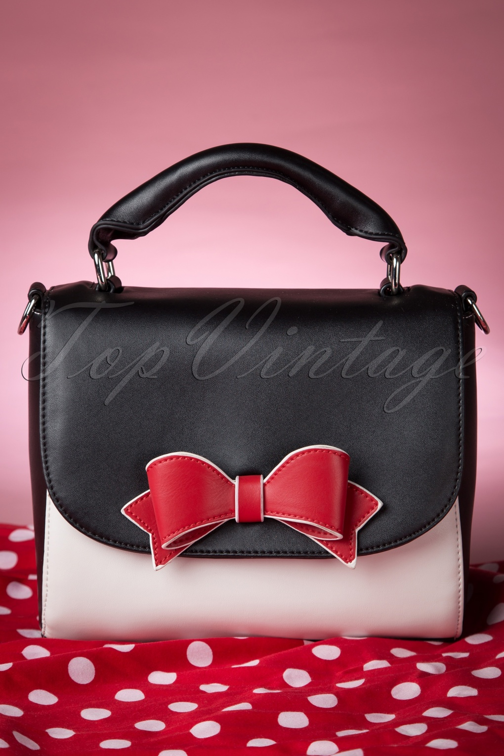Maßgeschneiderte Kleider 50s Delux Red Bow Bag In Black And White