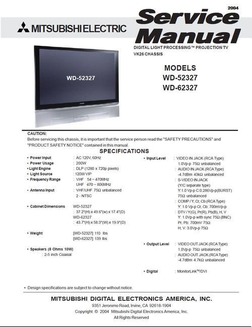 mitsubishi wd 52327 wd 62327 tv service manual download
