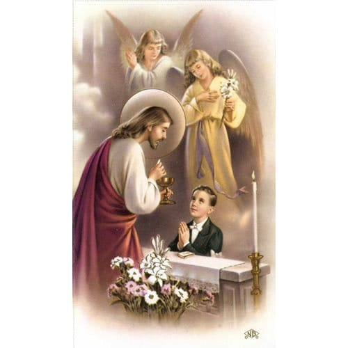 Angel Falls Hd Wallpaper Boy First Communion Traditional Personalized Prayer Cards