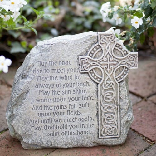 Celtic Cross Garden Stone With Irish Blessing The - Garden Furniture Clearance Ware