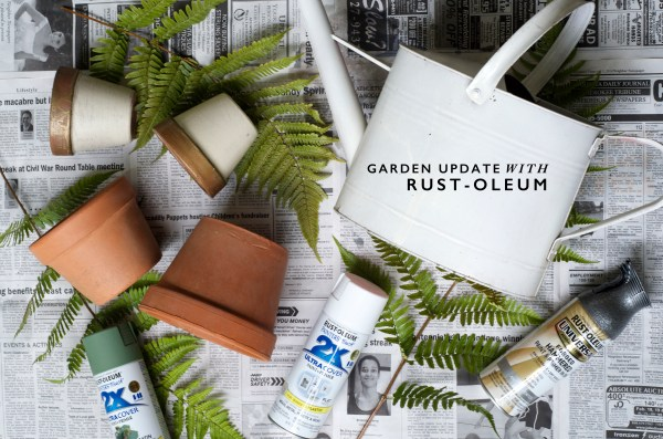 GARDEN UPDATE: DIY spray painted tin watering can and color-blocked planters with Rust-Oleum