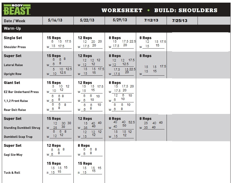 My Body Beast Journey Dumbbells and Diapers - beast workout sheet