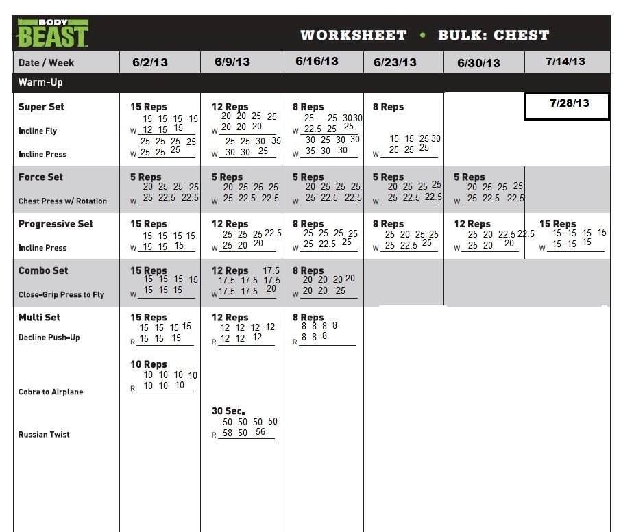 My Body Beast Journey Dumbbells and Diapers - workout program sheet