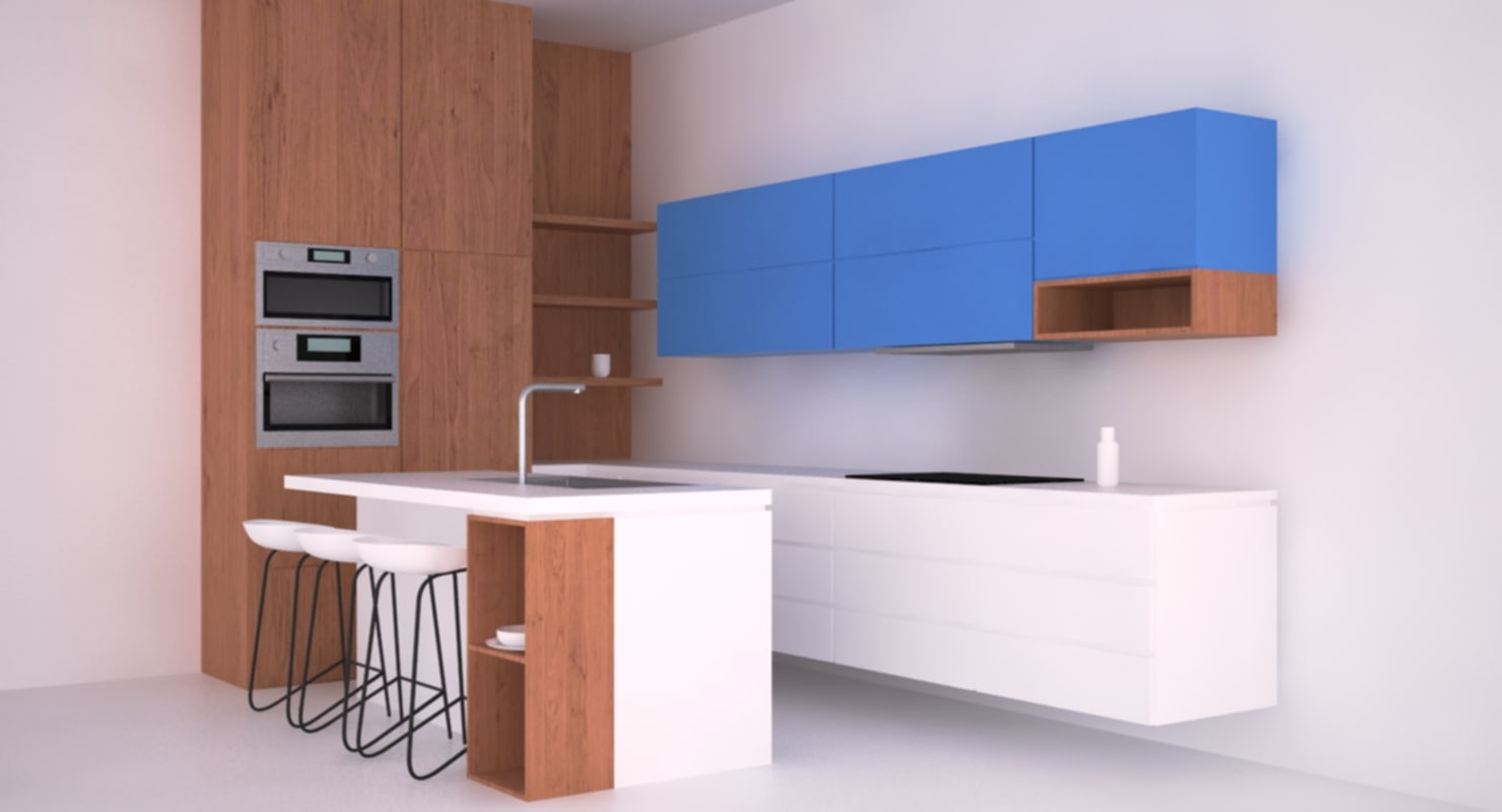 Kitchen Design 3d Model Ready Kitchen 3d Model Turbosquid 1155704