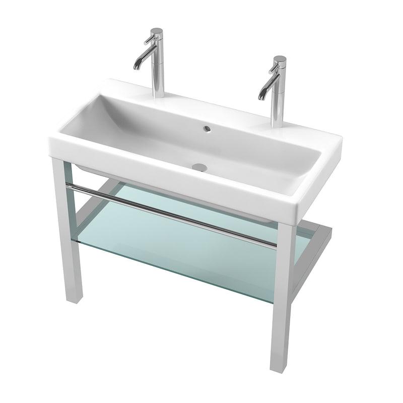 3d Double Wide Bathroom Sink Turbosquid 1189400