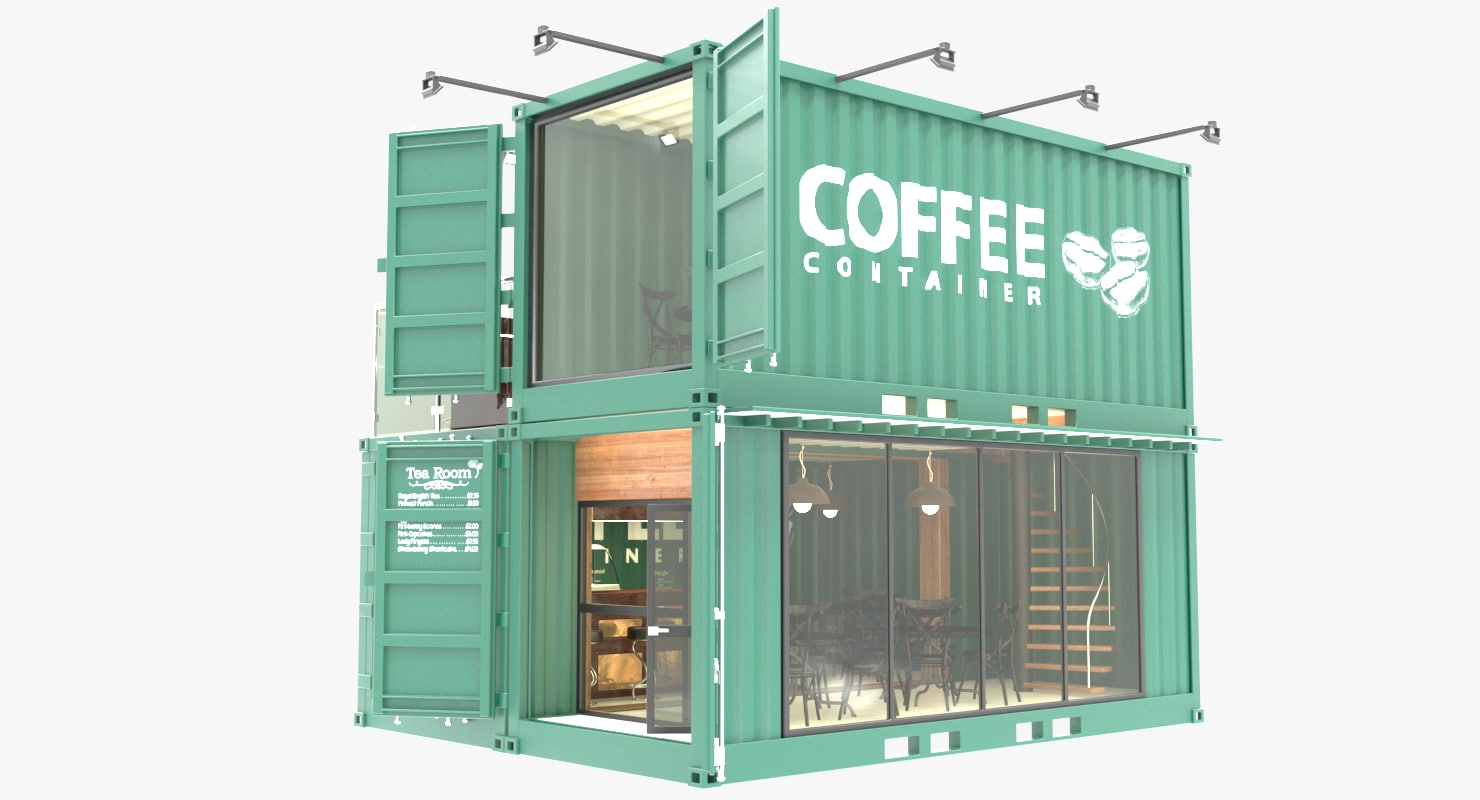 Desain Cafe Container Coffee Shop 3d Models For Download Turbosquid