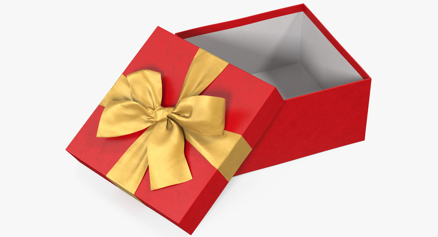 3d Open Gift Box Open Red 2