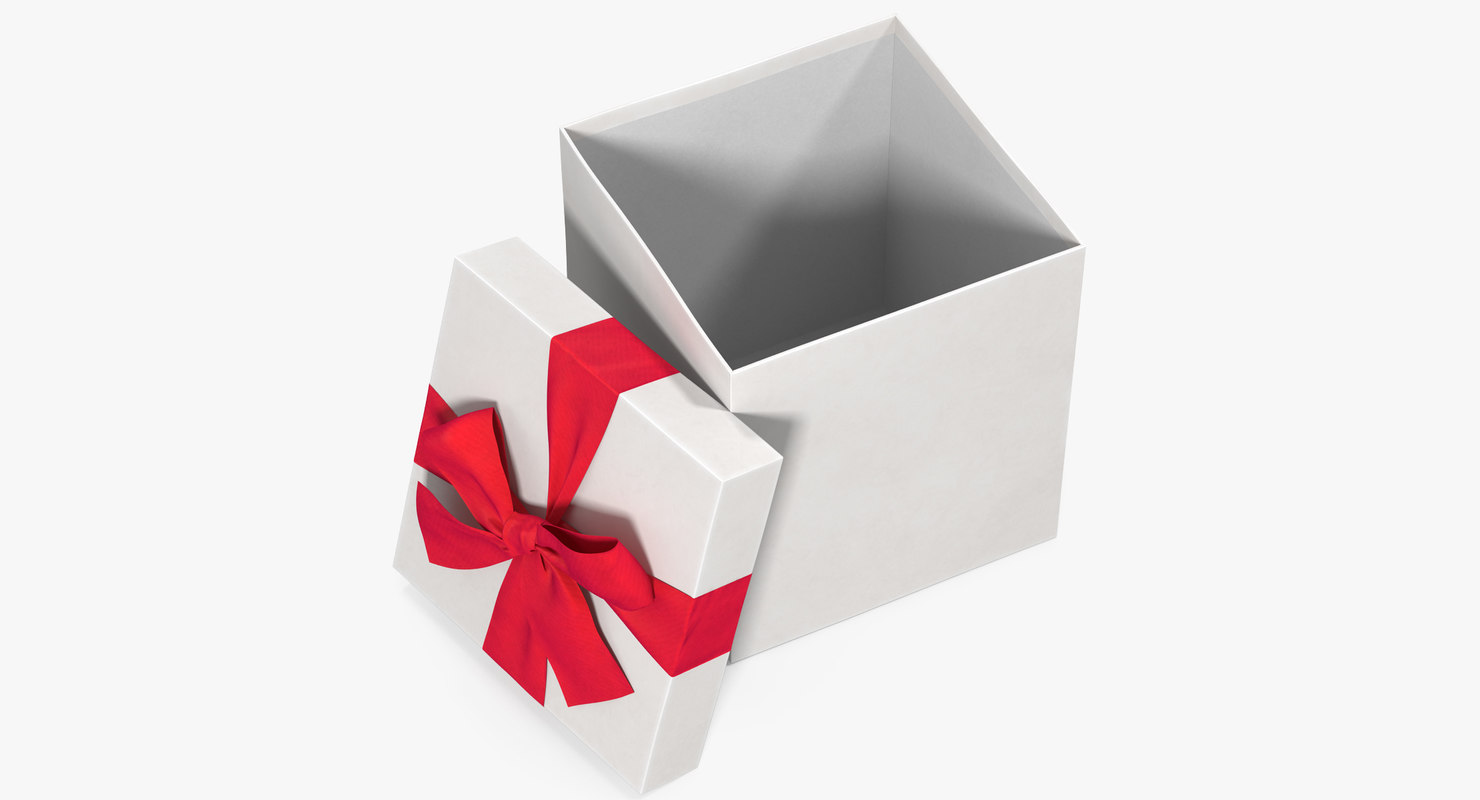 3d Open Gift Box Open White 3