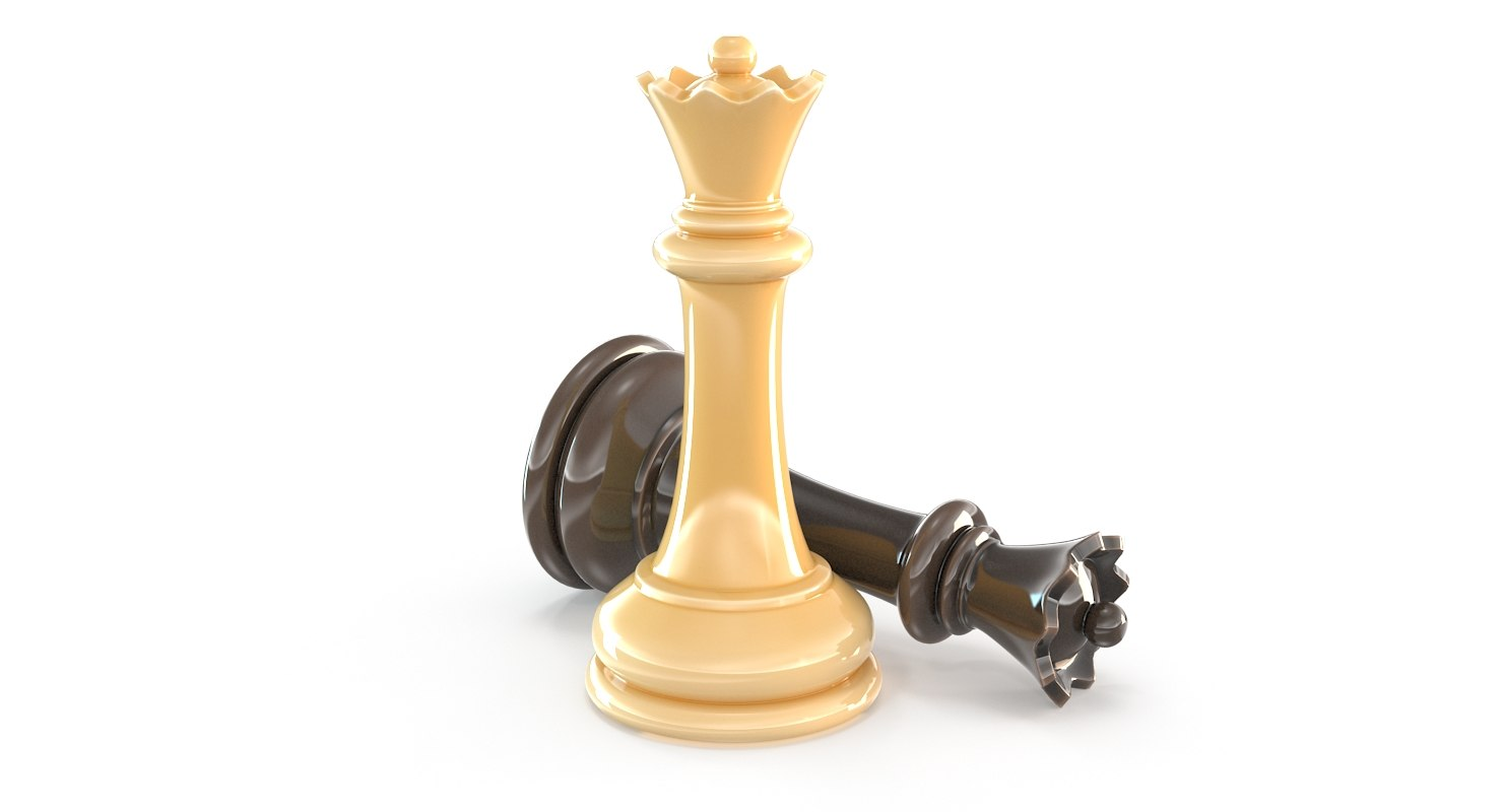 Gold Chess Pieces Queen Chess Piece White Black