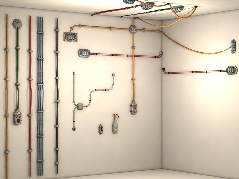 cables wall 3d model