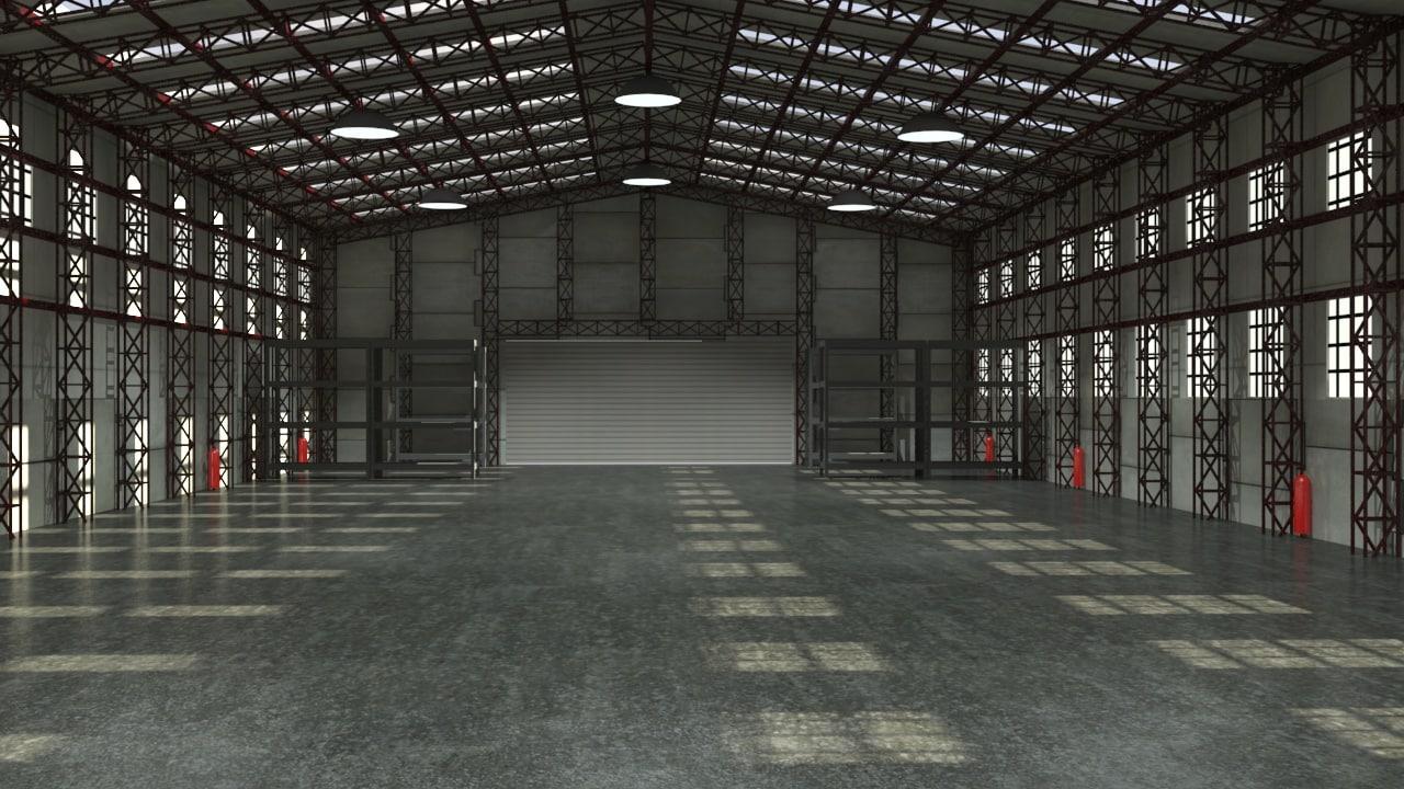 3d White Brick Wallpaper Storage Warehouse Interior Max