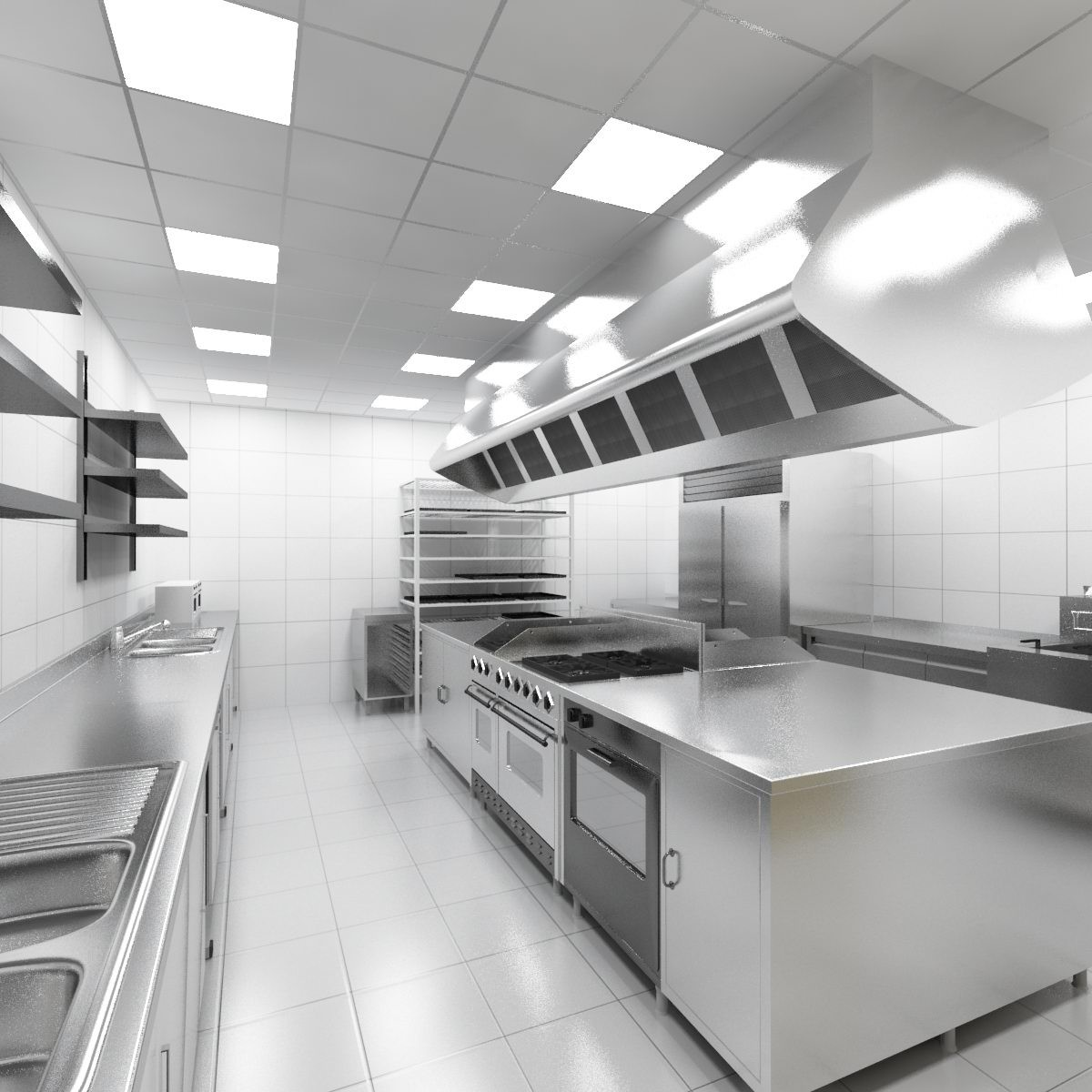 Small Kitchen Models 3d Industrial Kitchen Model