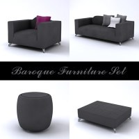 3d model contemporary baroque furniture set
