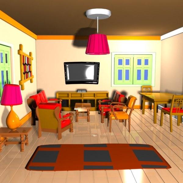 Cartoon Living Room 3ds